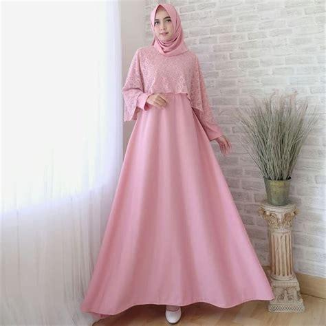 jual baju gamis syari pesta remaja kombinasi brokat set jilbab pashmina lapak ferishop frafrian