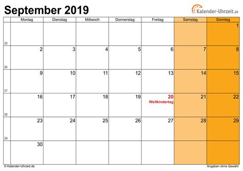 september kalender mit feiertagen