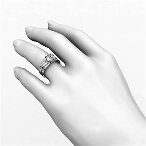 Channel set diamond engagement ring and wedding band for Princess cut solitaire engagement ring with wedding band