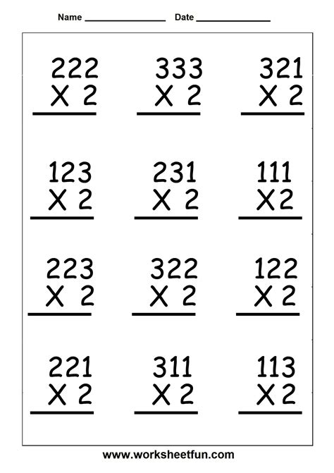 multiplication 3 digit by 1 digit six worksheets