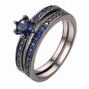 black rhodium plated wedding ring two in one design j7y4 With rhodium wedding ring sets