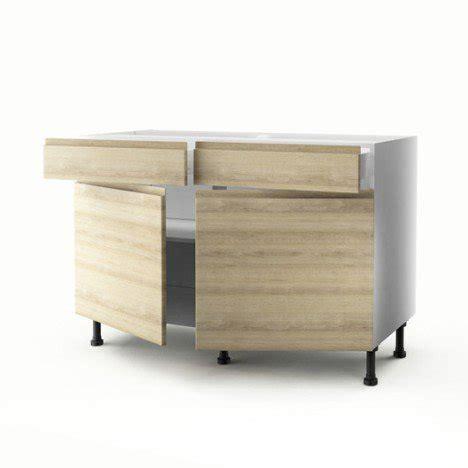 meuble cuisine 70 cm largeur meuble de cuisine bas décor chêne 2 portes 2 tiroirs
