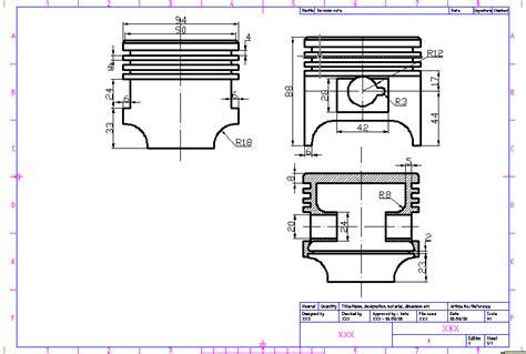 kopling grid techdrawing drawing piston