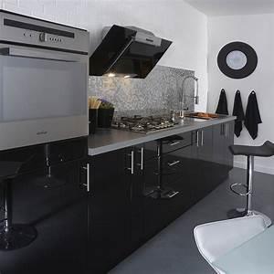 Meuble de cuisine noir DELINIA Rio Leroy Merlin