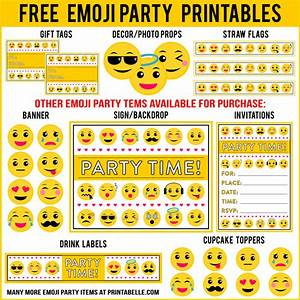 Free emoji party printables and more free party printables at printabelle for Emoji party printables