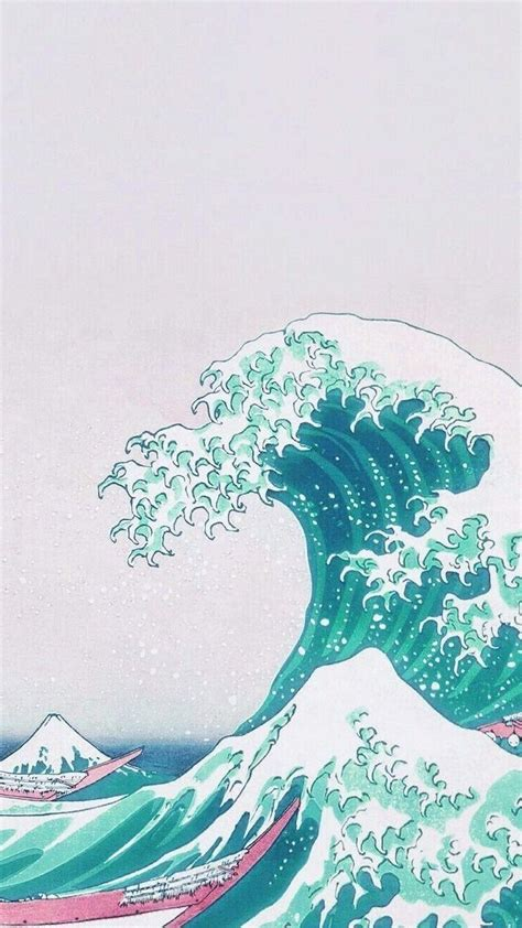 drawing of a tidal wave aesthetic iphone wallpaper
