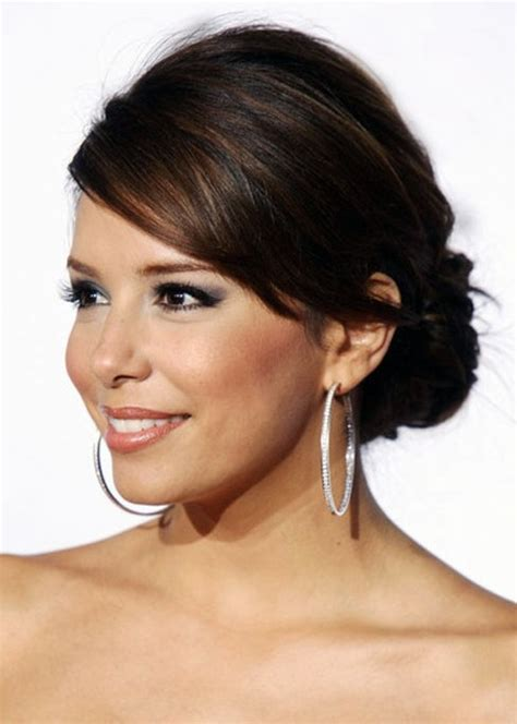Low Updo Hairstyle with Side Swept Bangs   Hairstyles Weekly