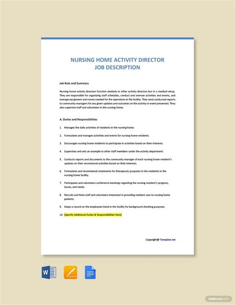 FREE Nursing Home Activity Director Job Description ...