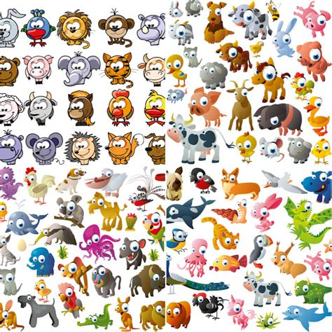 funny cartoon animals vector   vectorpicfree