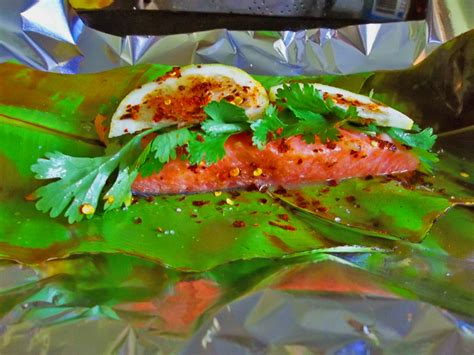 spicy salmon baked  banana leaf crystaliving