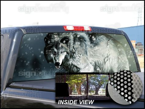p wolf rear window tint graphic decal wrap  pickup