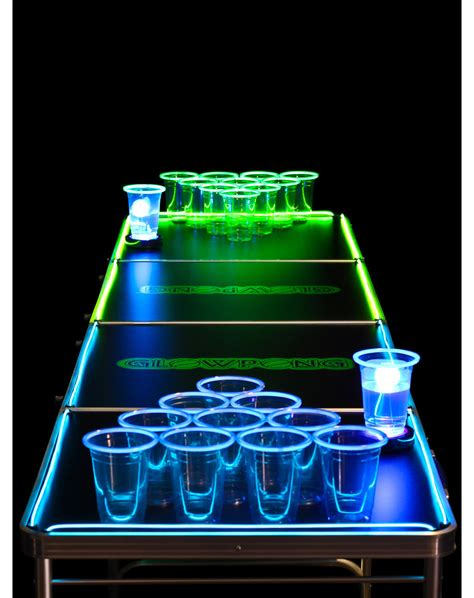 glowing ft beer pong game table  spencers gifts party
