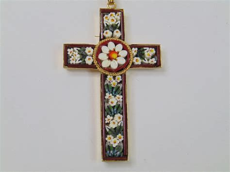 Vintage Micro Mosaic Cross Pendant Necklace Marked Italy