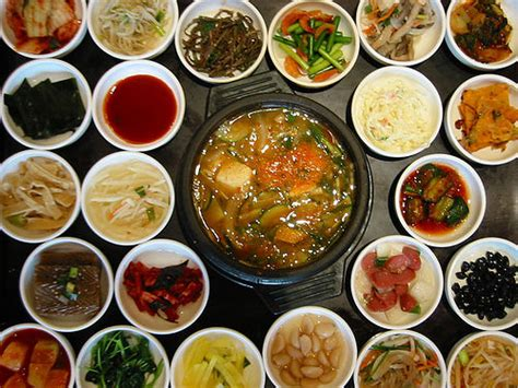 Traditional Korean Food  Main Soup Dish And 23 Sides To