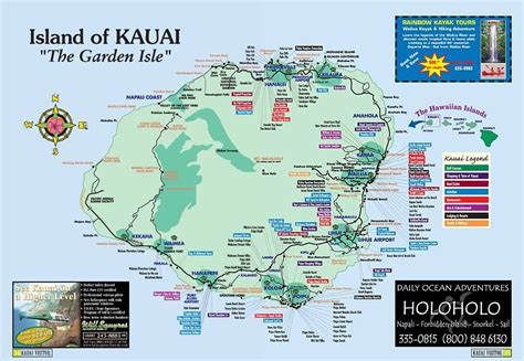 map  kauai kauai island hawaii tourist map  map