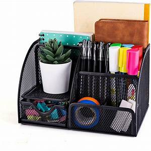 Mesh, Office, Supplies, Desk, Organizer, 6, Compartments, Plus, Drawer, Black, -, Walmart, Com