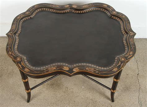 25.5h x 22w x 22d , 9 pounds the tray is removable. Hand-Painted Black Tray Coffee Table by Maitland Smith For Sale at 1stdibs
