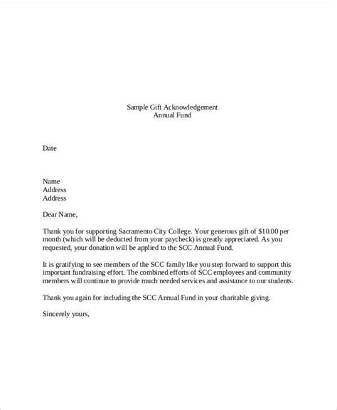 template acknowledgement letter donation gift templates