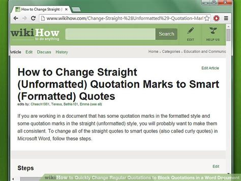 how to quickly change regular quotations to block quotations in a word document