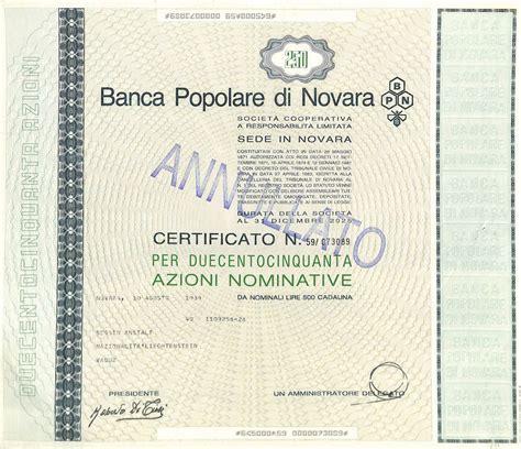 Popolare Di Novara A Novara Popolare Di Novara Titolo Finanziario Storico