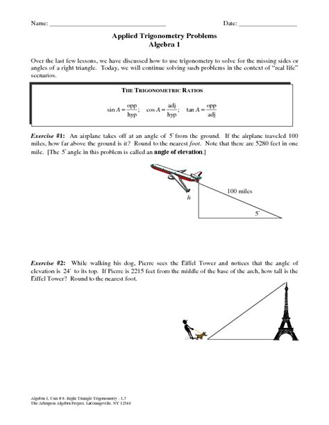 trigonometric ratios word problems worksheets worksheets