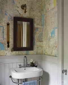 map wallpaper cottage bathroom farrow ball