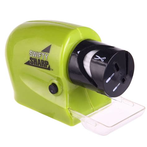 swifty sharp cordless electric knife sharpener with catch tray green alexnld