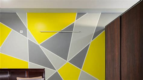 painting geometric triangle accent wall pattern aapkapainter  trifecta starlight bangalore