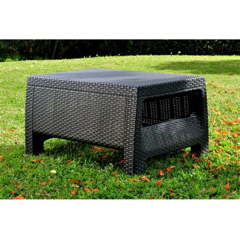 Giantex round rattan wicker coffee table. Contemporary Outdoor Coffee Table in Durable Black Plastic Rattan