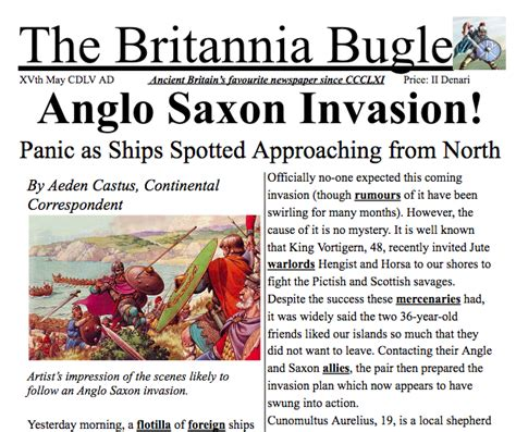 This headline plays with the word short. Anglo Saxon Invasion Newspaper Article. An example/imitation text that could be ideal if your ...