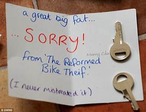 Thief returns bike with apology note after cyclist left ...