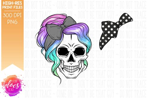 This free svg cut file comes in a single zip file with the following file formats: The Messy Bun Skull - Unicorn Ombre - Sublimation ...