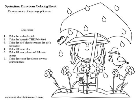 Springtime Directions Coloring Sheets