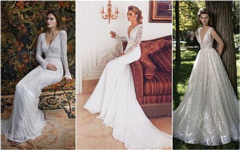 32 Sexy Deep Plunging V Neck Wedding Dresses