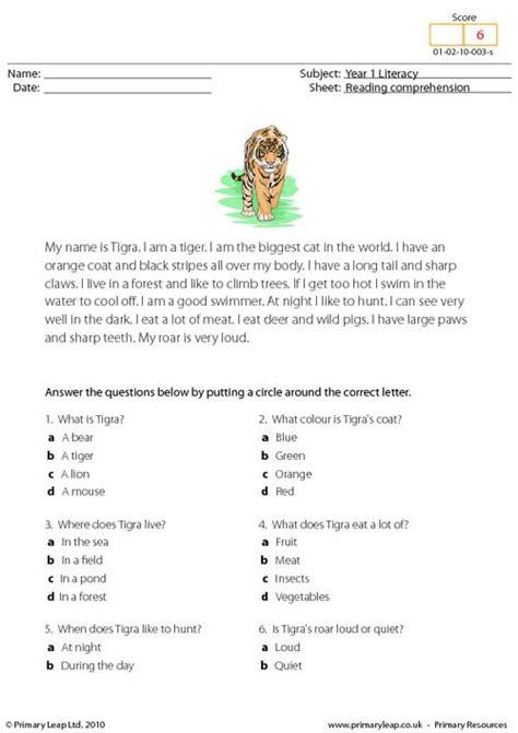 reading comprehension i am a tiger primaryleap co uk
