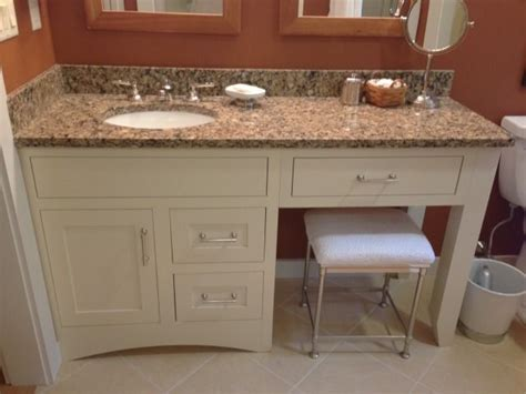 Select by width size either single sink or double sink vanity with make up counter top space and matching set work bench. Cabinet Inspiration. Granite counter tops = Cambria ...
