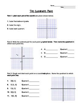 graphing   coordinate plane worksheet  notes page