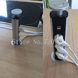 220V 16A PULL POP UP Electrical 3 EU power Socket 2 USB
