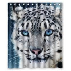 hellodecor snow leopard white tiger face shower curtain