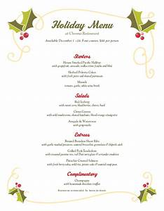 Christmas Holly Buffet Menu | Design Templates by ...