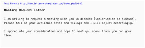 Email Template To Request A Meeting by Meeting Request Email And Letter Sle