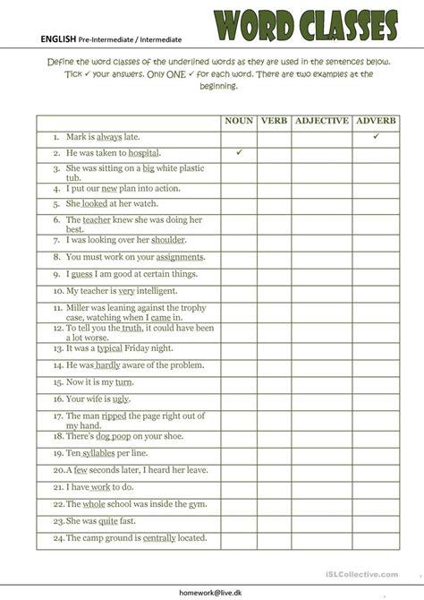 word classes worksheet free esl printable worksheets
