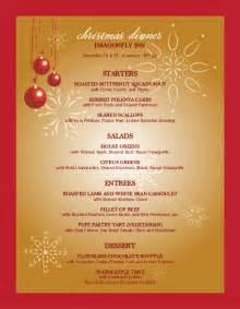 christmas party menu christmas menus
