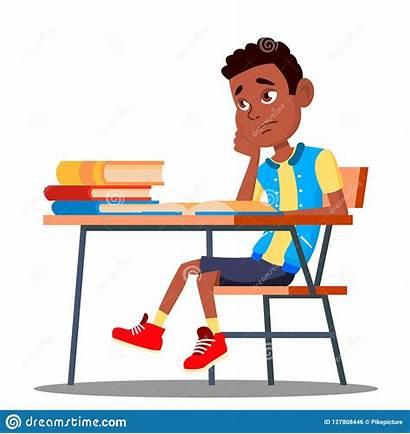 Reading Illustrazione Abbildung Vektor Kind Getrennte Klassenzimmer