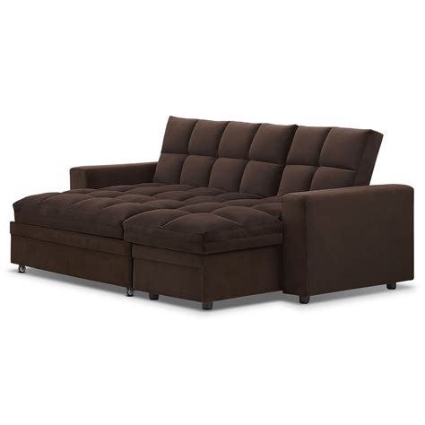 value city furniture sleeper sofa metro chaise sofa bed with storage brown value city