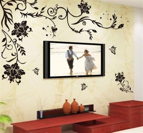 black simple flower wall sticker romantic vine removable