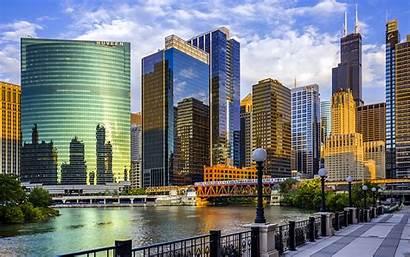 Chicago Illinois River Usa Skyscrapers Bridge Travel