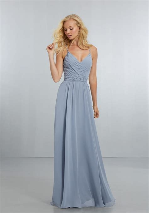 Bridesmaid Dresses by Chiffon Bridesmaids Dress With Draped V Neck Bodice And