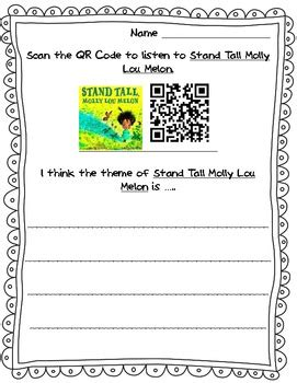 stand tall molly lou melon qr code theme sheet tpt
