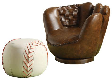 kids baseball chair and ottoman sporty dark brown baseball glove chair white ottoman